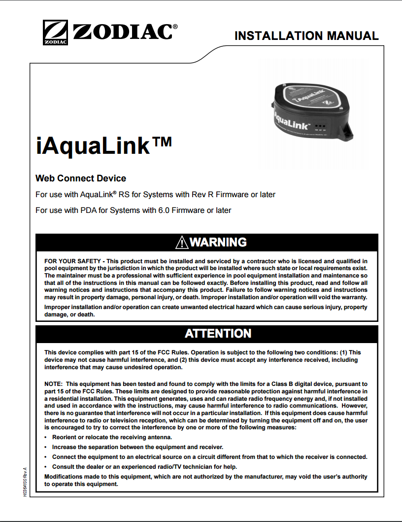 Iaqualink Web Connect Device Installation Manual Usb Wiring Diagram Troubleshooting