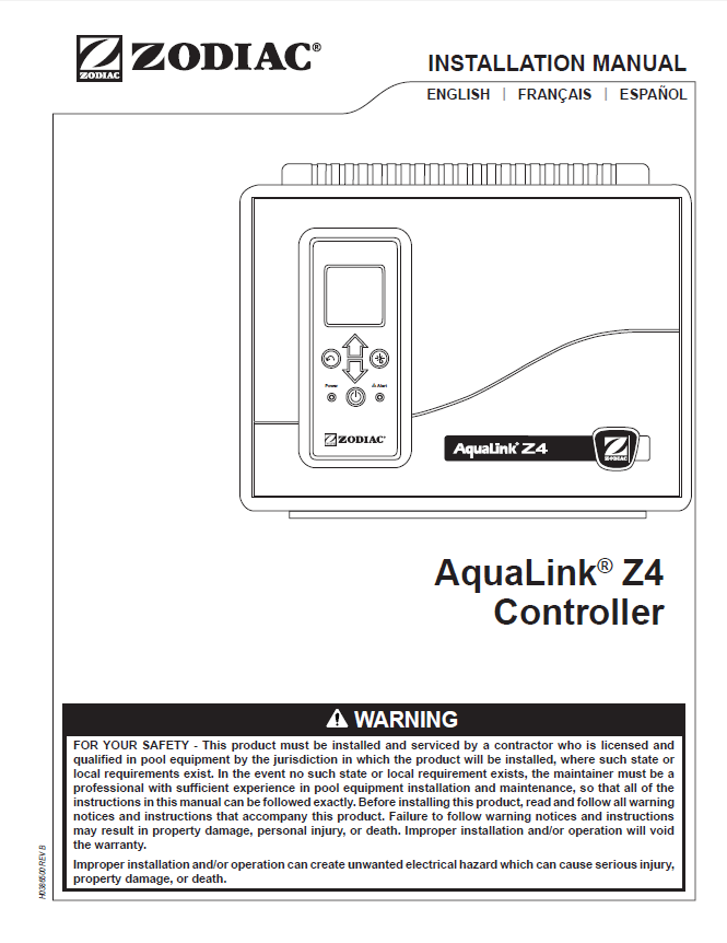 aqualink z4 installation manual